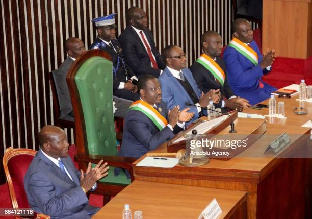 Ivorian Vice President Daniel Kablan Duncan and Parliament speaker Soro Guillaume are seen during the inauguration of newly established National...