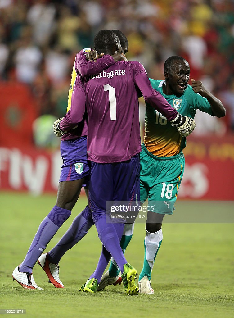 Ivory Coast celebrates after winning the Round of 16 match of the FIFA U-17 World Cup between Morocco and Ivory Coast at Fujairah Stadium on October 29, 2013 in Fujairah, United Arab Emirates.