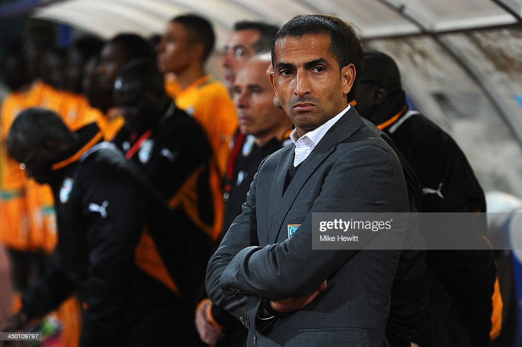 Ivory Coast coach <a gi-track='captionPersonalityLinkClicked' href=/galleries/search?phrase=Sabri+Lamouchi&family=editorial&specificpeople=648801 ng-click='$event.stopPropagation()'>Sabri Lamouchi</a> looks on during the FIFA 2014 World Cup Qualifier Play-off Second Leg between Senegal and Ivory Coast at Stade Mohammed V on November 16, 2013 in Casablanca, Morocco.