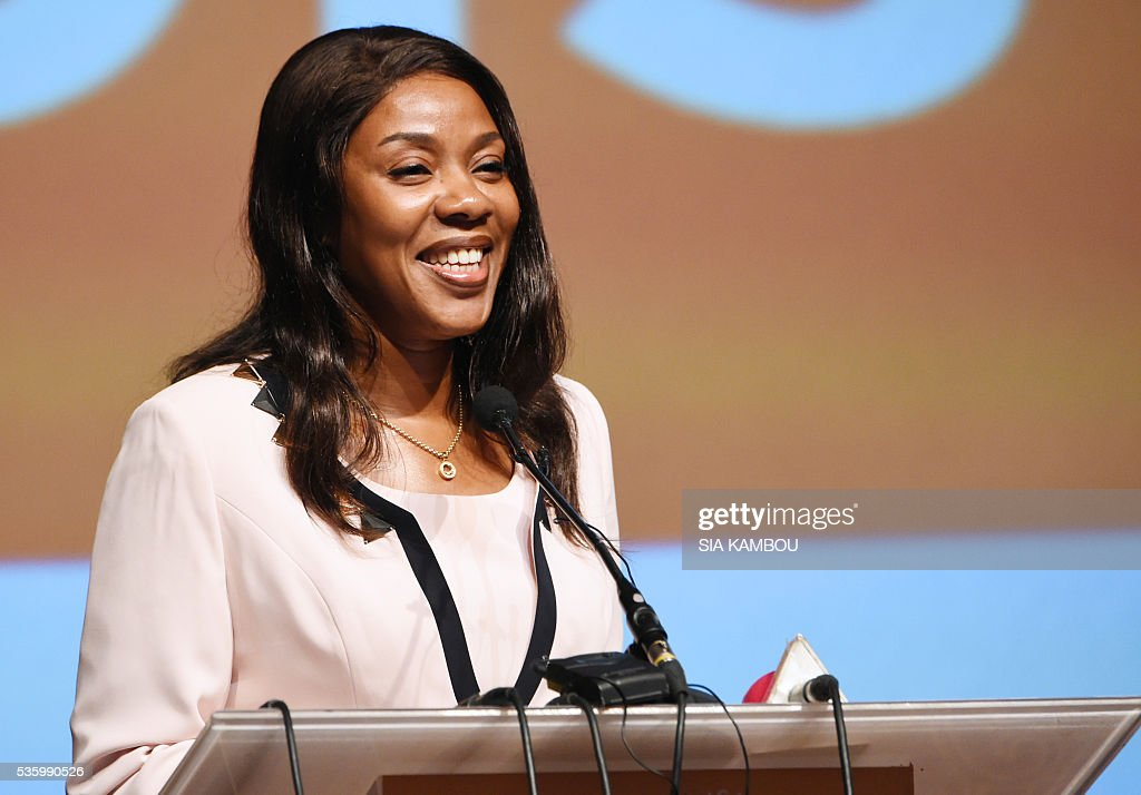Ivory Coast communication minister Affoussiata BambaLamine speaks on the opening day of the DISCOP Africa a meeting focused on audiovisual content...