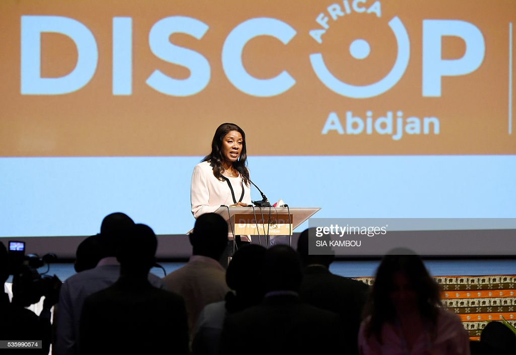 Ivory Coast communication minister Affoussiata Bamba-Lamine speaks on the opening day of the DISCOP Africa, a meeting focused on audiovisual content distribution and production on May 31, 2016 in Abidjan. KAMBOU