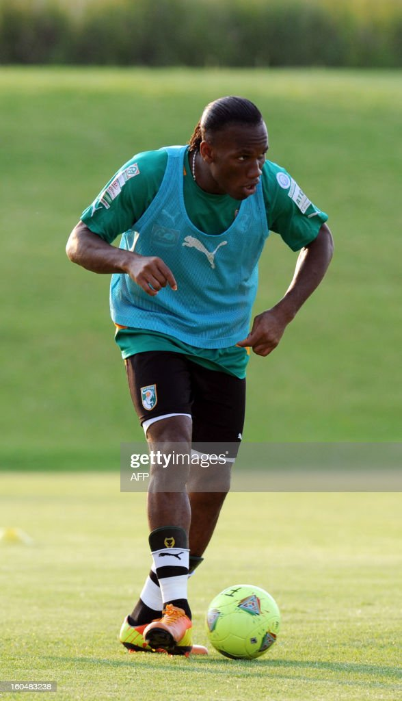 Ivory Coast forward Didier Drogba takes part in a training session in Rustenburg on February 1, 2013. Nigeria will take on Ivory Coast in a 2013 African Cup of Nations match on February 3.