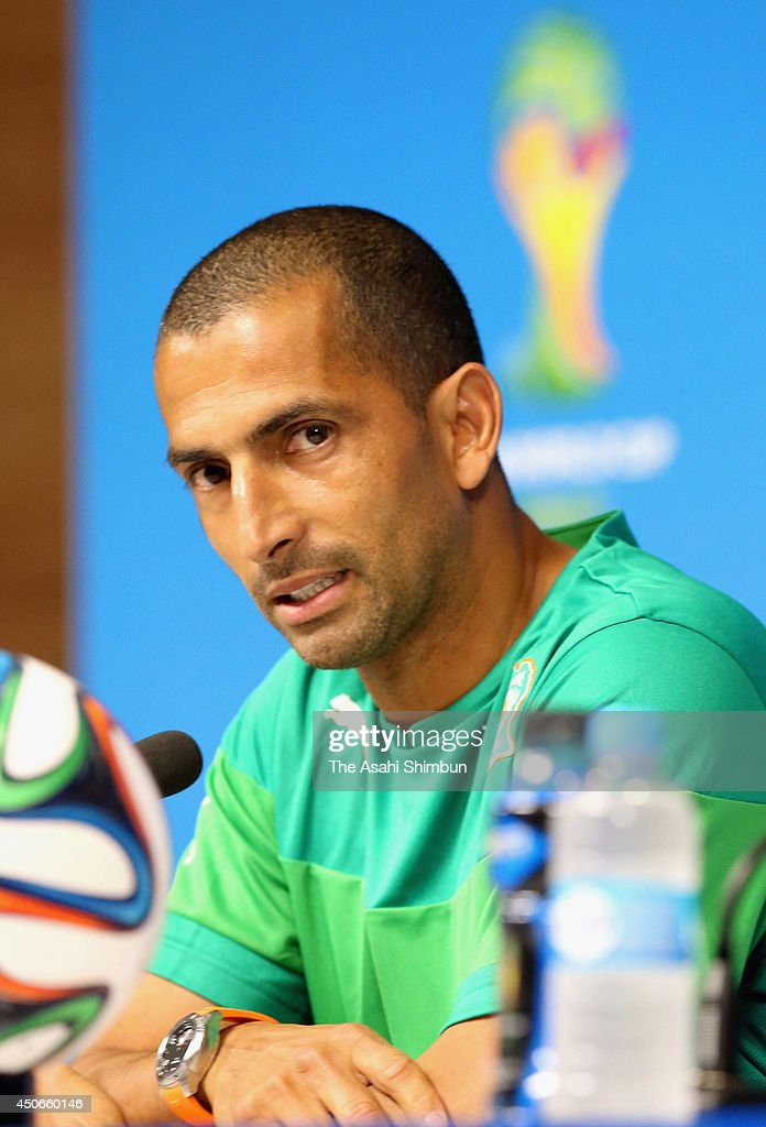 Ivory Coast head coach <a gi-track='captionPersonalityLinkClicked' href=/galleries/search?phrase=Sabri+Lamouchi&family=editorial&specificpeople=648801 ng-click='$event.stopPropagation()'>Sabri Lamouchi</a> speaks during a press conference ahead of their match against Japan at Arena Pernambuco on June 13, 2014 in Recife, Brazil.