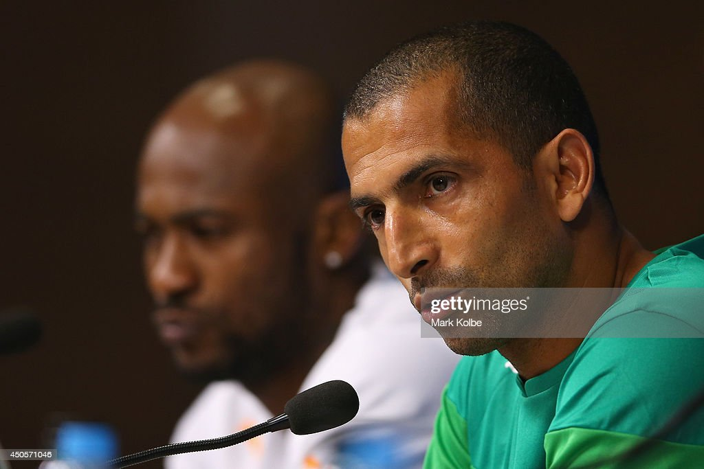 Ivory Coast head coach <a gi-track='captionPersonalityLinkClicked' href=/galleries/search?phrase=Sabri+Lamouchi&family=editorial&specificpeople=648801 ng-click='$event.stopPropagation()'>Sabri Lamouchi</a> speaks to the media during a press conference at Arena Pernambuco on June 13, 2014 in Recife, Pernambuco.