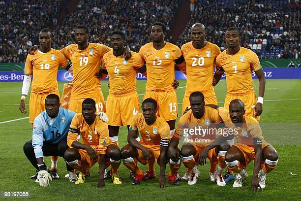 Ivory Coast players line up prior to the international friendly match between Germany and Ivory Coast at the Schalke Arena on November 18 2009 in...