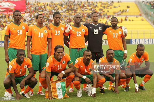 Ivory Coast players pose for a team photo during the AFCON 3rd Place Playoff between Ghana and Ivory Coast held at the Baba Yara Stadium February 9...