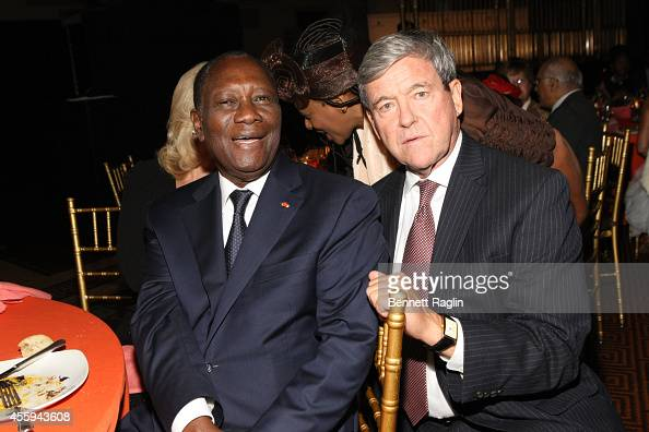 Ivory Coast President Alassane Ouattara and Steven B Pfeiffer attend the 30th Annual Awards Gala hosted by The AfricaAmerica Institute at Gotham Hall...