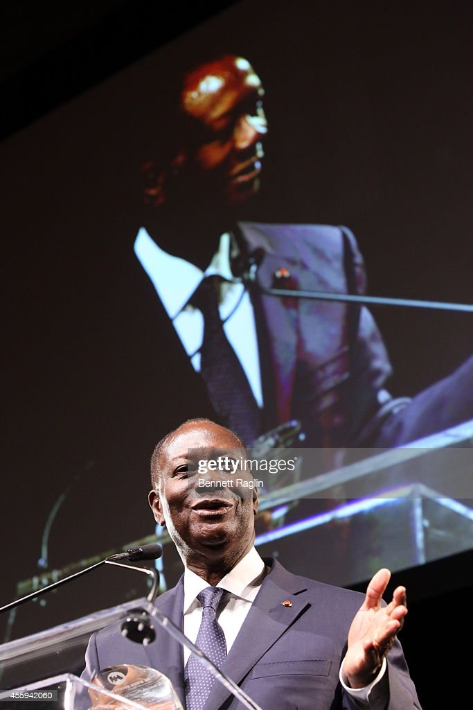 Ivory Coast President Alassane Ouattara speaks during the 30th Annual Awards Gala hosted by The AfricaAmerica Institute at Gotham Hall on September...