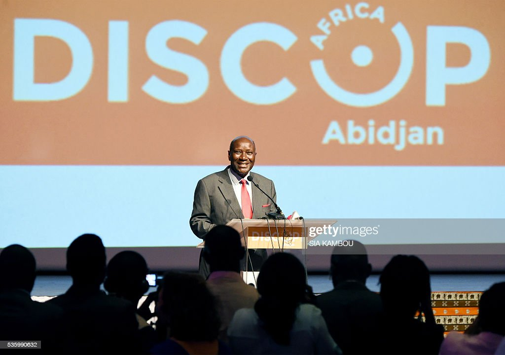 Ivory Coast Prime Minister Daniel Kablan Duncan speaks on the opening day of the DISCOP Africa, a meeting focused on audiovisual content distribution and production on May 31, 2016 in Abidjan. KAMBOU