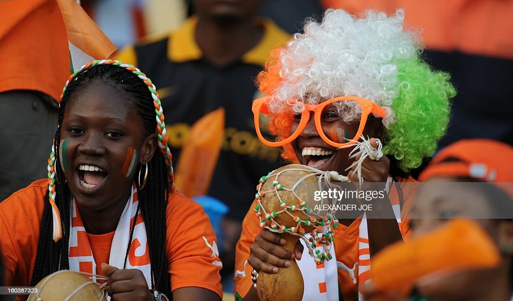 Ivory Coast supporters wait for the start of their match against Algeria during a Group D football match during the 2013 African Cup of Nations at the Royal Bafokeng Stadium in Rustenburg on January 30, 2013.