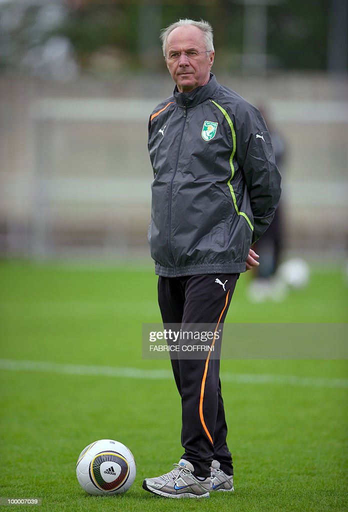 Ivory Coast team coach Sven Goran Eriksson of Sweden looks on during a practice session on May 19, 2010 in Montreux, Switzerland, ahead of the FIFA World Cup 2010 finals in South Africa. A high-profile casualty is inevitable in Group G at the World Cup with Brazil, Portugal and Ivory Coast fighting for two places while North Korea concentrate on damage limitation.
