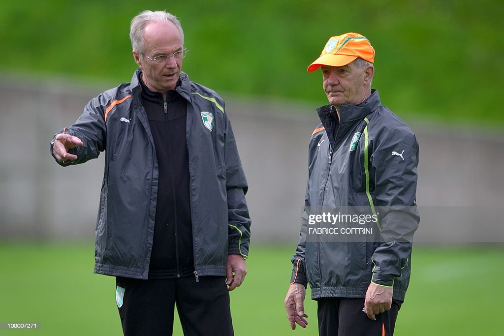 Ivory Coast team coach Sven Goran Eriksson (L) of Sweden speaks with his assistant Tord Grip during a practice session on May 20, 2010 in Montreux, Switzerland, ahead of the FIFA World Cup 2010 finals in South Africa. A high-profile casualty is inevitable in Group G at the World Cup with Brazil, Portugal and Ivory Coast fighting for two places while North Korea concentrate on damage limitation.