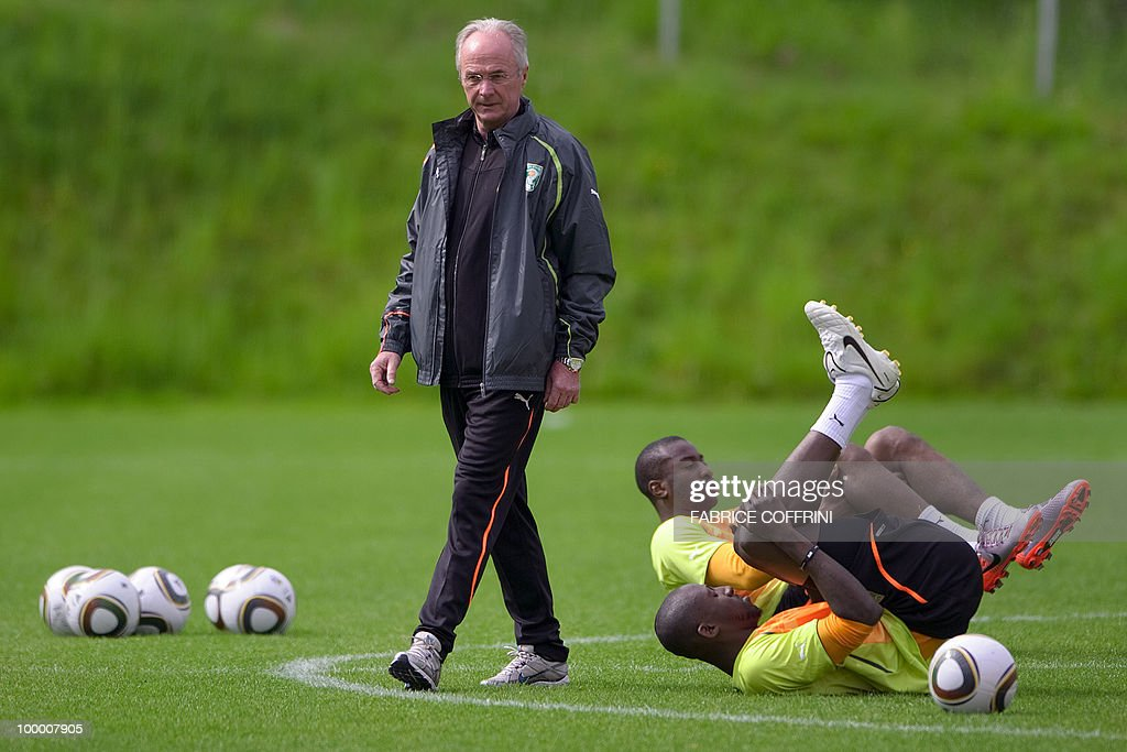 Ivory Coast team coach Sven-Goran Eriksson of Sweden walks among his player during a practice session on May 20, 2010 in Montreux, Switzerland, ahead of the FIFA World Cup 2010 finals in South Africa. A high-profile casualty is inevitable in Group G at the World Cup with Brazil, Portugal and Ivory Coast fighting for two places while North Korea concentrate on damage limitation.
