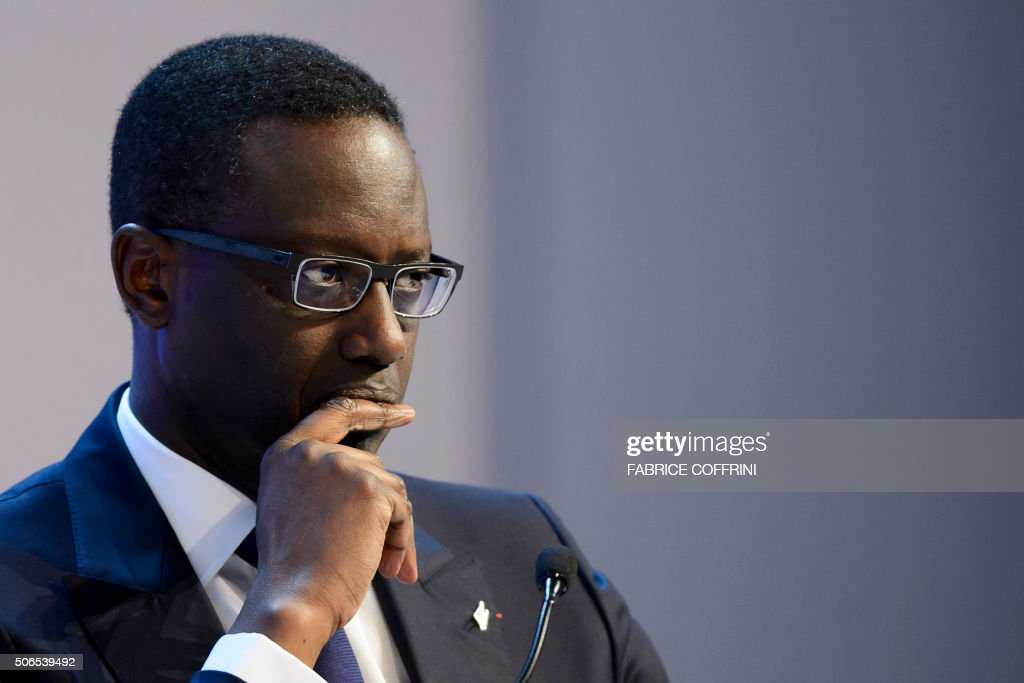 Ivory Coastborn French Credit Suisse CEO Tidjane Thiam looks on during a session of the World Economic Forum annual meeting on January 23 2015 / AFP...