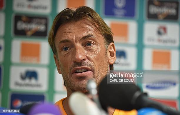Ivory Coast's coach Herve Renard gives a press conference in Bata on February 7 on the eve of the African Cup of Nations final match against Ghana...