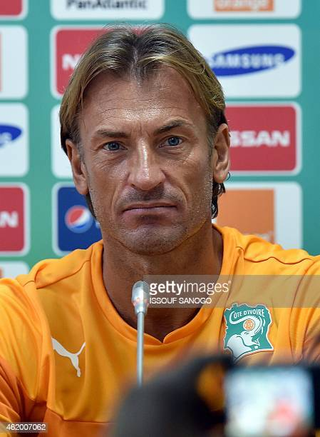 Ivory Coast's coach Herve Renard holds a press conference in Malabo on January 23 2015 on the eve of the 2015 African Cup of Nations football match...