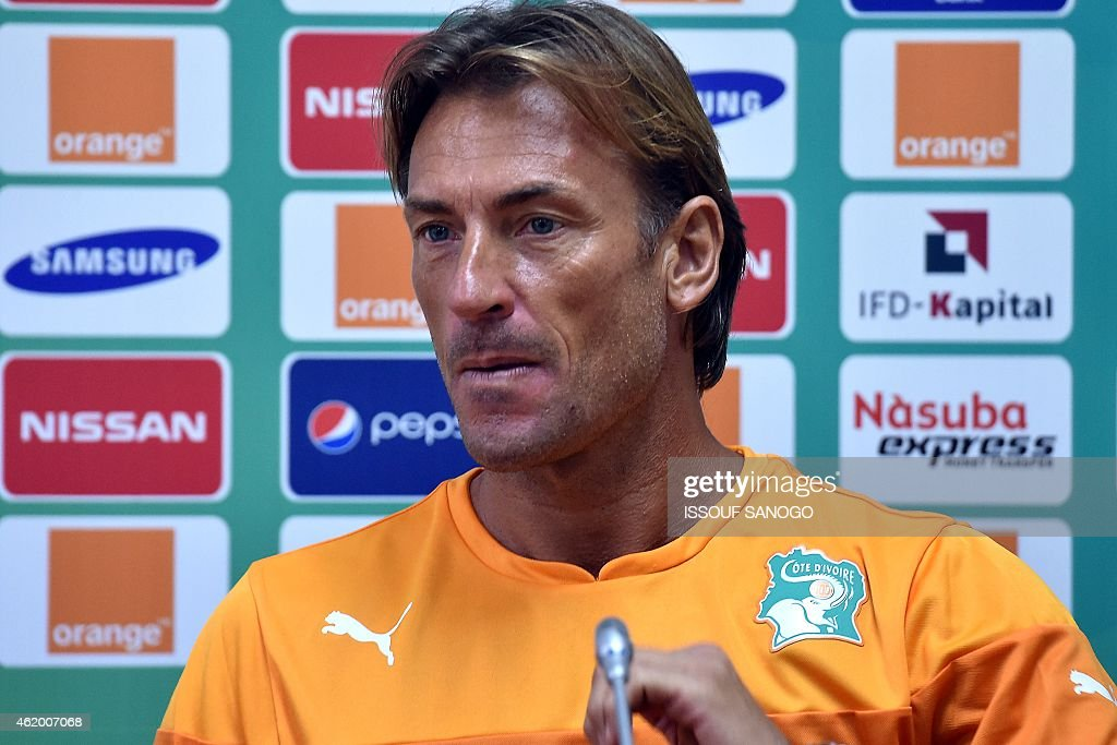 Ivory Coast's coach <a gi-track='captionPersonalityLinkClicked' href=/galleries/search?phrase=Herve+Renard&family=editorial&specificpeople=2789238 ng-click='$event.stopPropagation()'>Herve Renard</a> holds a press conference in Malabo on January 23, 2015 on the eve of the 2015 African Cup of Nations football match between Ivory Coast and Mali.