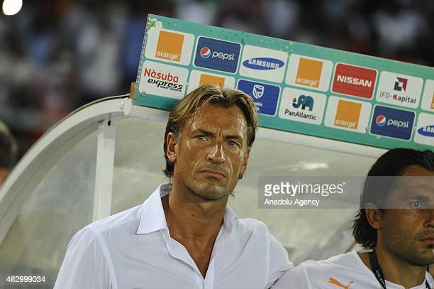 Ivory Coast's coach Herve Renard is seen ahead of the final football match between Ivory Coast and Ghana at the Bata Stadium in Bata on February 8...