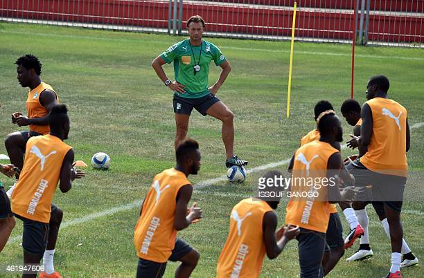Ivory Coast's coach Herve Renard leads his team's training session on January 22 2015 in Malabo as part of the 2015 African Cup of Nations football...