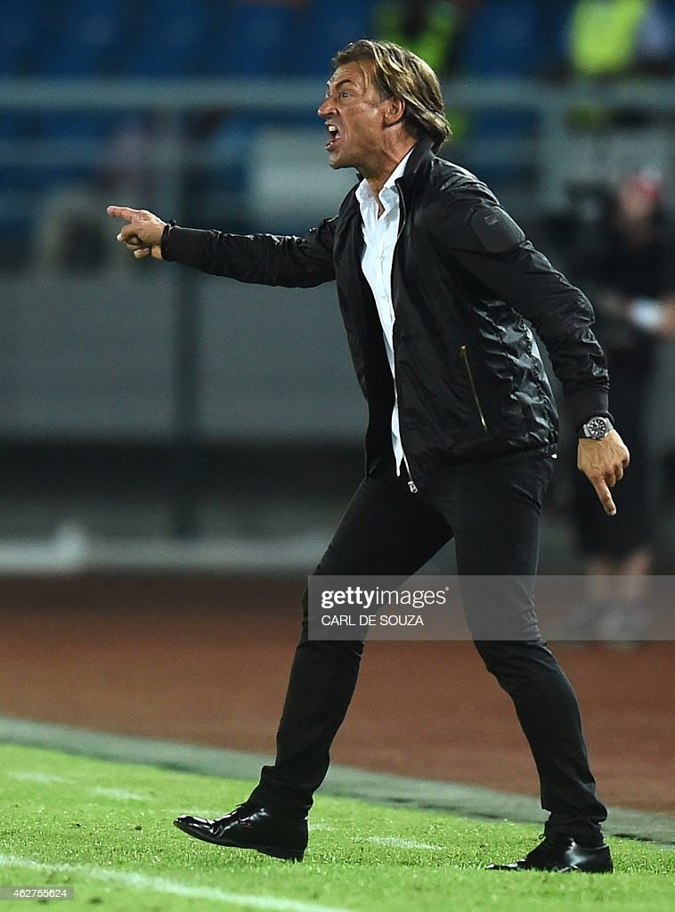 Ivory Coast's coach <a gi-track='captionPersonalityLinkClicked' href=/galleries/search?phrase=Herve+Renard&family=editorial&specificpeople=2789238 ng-click='$event.stopPropagation()'>Herve Renard</a> reacts during the 2015 African Cup of Nations semi-final football match between Democratic Republic of the Congo and Ivory Coast in Bata on February 4, 2015.