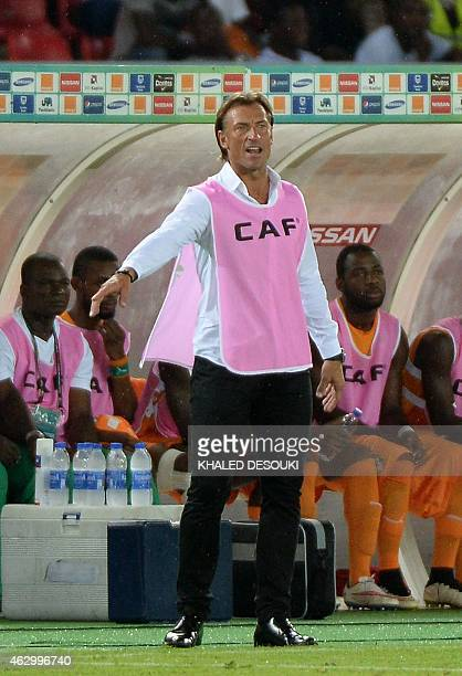 Ivory Coast's coach Herve Renard reacts during the 2015 African Cup of Nations final football match between Ivory Coast and Ghana in Bata on February...