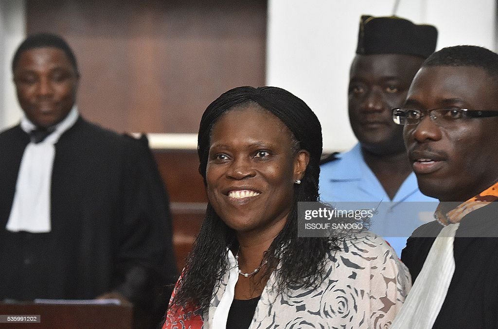 Ivory Coast's former first lady Simone Gbagbo arrives for her trial at the Abidjan Justice Court on May 31, 2016. Simone Gbagbo goes on trial for crimes against humanity in what many see as a litmus case for justice in the west African country. The hearings into the 66-year-old's role in post-election carnage in 2010 is expected to last a month with 32 witnesses testifying. SANOGO