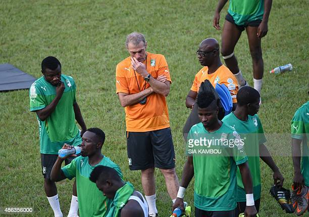 Ivory Coast's French coach Michel Dussuyer supervizes a training session on September 3 2015 at the Felix Houphouet Boigny stadium in Abidjan prior...
