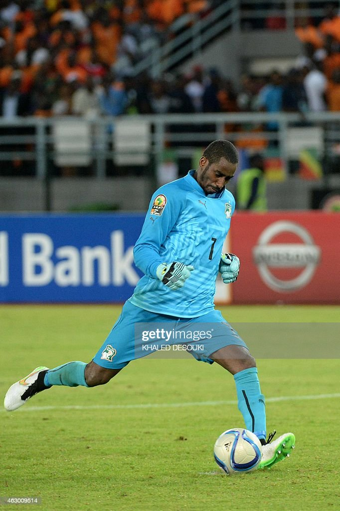 Ivory Coast's goalkeeper <a gi-track='captionPersonalityLinkClicked' href=/galleries/search?phrase=Boubacar+Barry&family=editorial&specificpeople=550738 ng-click='$event.stopPropagation()'>Boubacar Barry</a> kicks the winning penalty during the penalty shootout of the 2015 African Cup of Nations final football match between Ivory Coast and Ghana in Bata on February 8, 2015.