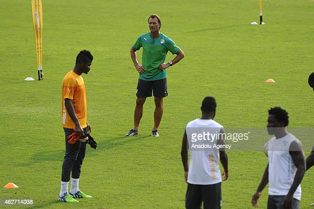 Ivory Coasts head coach Herve Renard takes part in a training session in Bikuy stadium in Bata Equatorial Guinea on February 3 2015 Ivory Coast will...