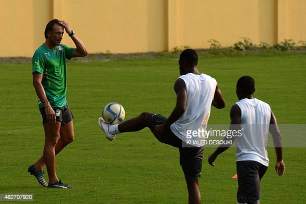 Ivory Coasts head coach Renard Herve attends a training session in Bikuy stadium in Bata on February 3 2015 Ivory Coast will face RC Congo in a...
