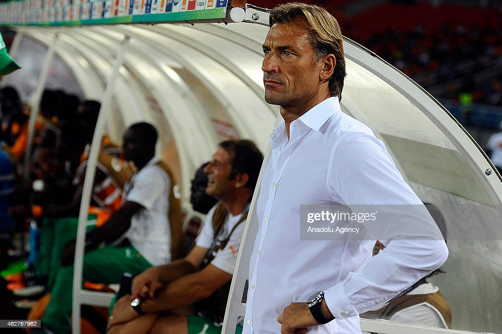 Ivory Coast's head coach Renard Herve during the 2015 African Cup of Nations semi-final football match between Democratic Republic of the Congo and Ivory Coast at the Bata Stadium on February 04, 2015 in Bata, Equatorial Guinea.