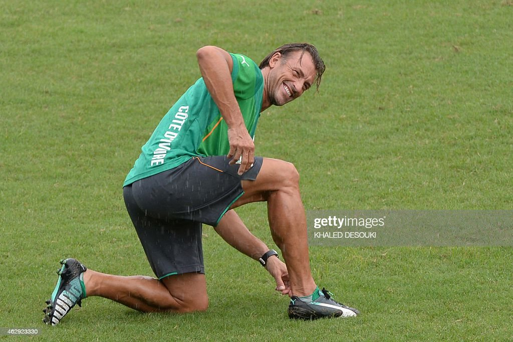 Ivory Coasts head coach Renard Herve is pictured during a training session on the eve of the African Cup of Nations final football match between Ivory Coast and Ghana, on February 7, 2015 at Bikuy stadium in Bata.