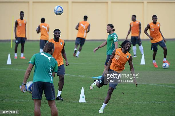 Ivory Coasts head coach Renard Herve looks on as his players take part in a training session at Bikuy stadium in Bata on February 6 2015 Ivory Coast...