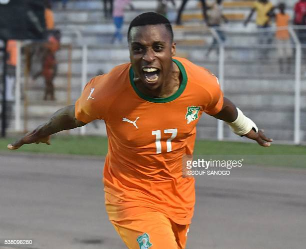 Ivory Coast's Jonathan Kodia celebrates during the 2017 African Cup of Nations qualification football match between Ivory Coast and Gabon at the...