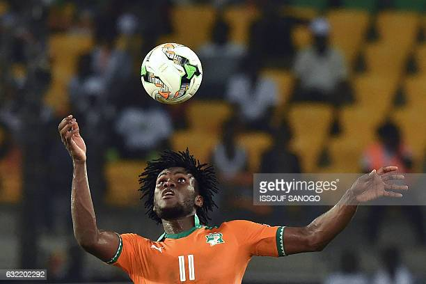 Ivory Coast's midfielder Franck Kessie heads the ball during the 2017 Africa Cup of Nations group C football match between Ivory Coast and DR Congo...