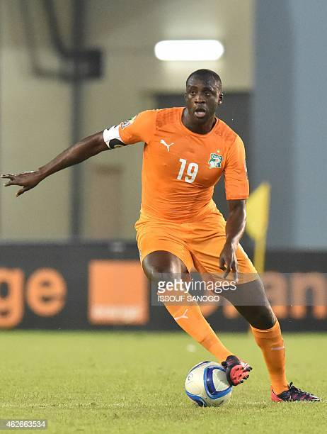 Ivory Coast's midfielder Yaya Toure controls the ball during the 2015 African Cup of Nations quarter final football match between Ivory Coast and...
