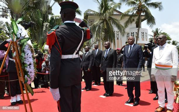 Ivory Coast's national assembly president Guillaume Soro vicepresident Daniel Kablan Duncan Ivory Coast's Prime Minister Amadou Gon Coulibaly and...