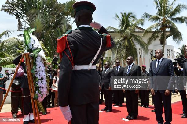 Ivory Coast's national assembly President Guillaume Soro vicepresident Daniel Kablan Duncan and Ivory Coast's Prime Minister Amadou Gon Coulibaly...