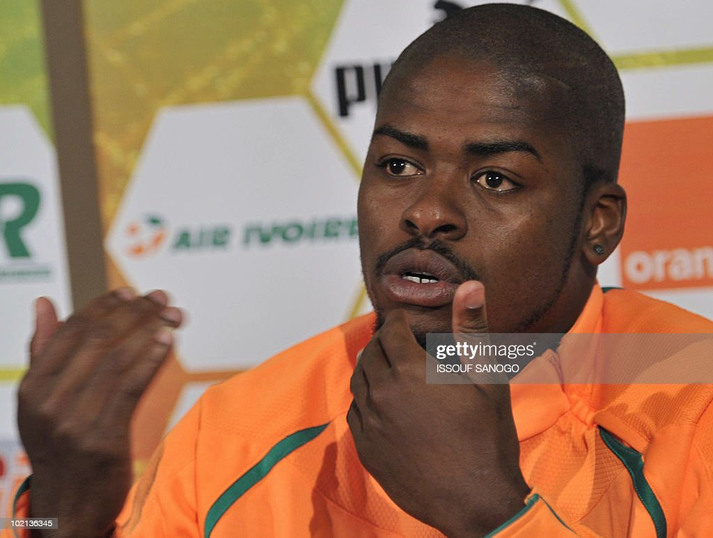 Ivory Coast's national football player Romaric Ndri Koffi speaks during a press conference at the team's hotel in Vanderbijlpark on June 16, 2010 a day after their 2010 World Cup tournament match against Portugal.