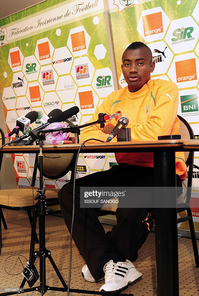 Ivory Coast's national football player Salomon Kalou speaks during a press conference at the team's hotel in Vanderbijlpark on June 16, 2010 a day after their 2010 World Cup tournament match against Portugal.