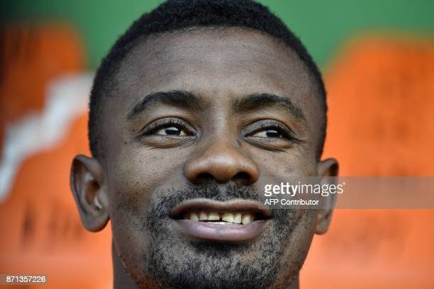 Ivory Coast's national team player Salomon Kalou speaks to journalists prior to a training session on November 7 2017 at the Felix HouphouetBoigny...