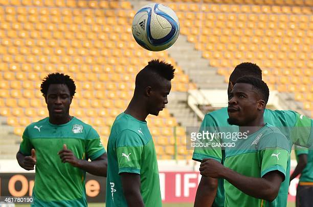 Ivory Coast's players take part in a training session at Malabo stadium on the eve of the team's first match as part of the 2015 African Cup of...