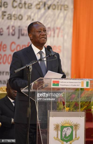 Ivory Coast's President Alassane Ouattara delivers a speech during the summit of the Treaty of Friendship and Cooperation between Ivory Coast and...
