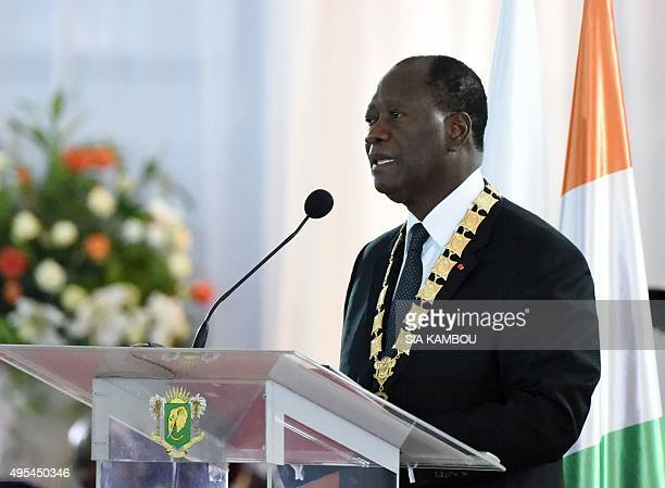 Ivory Coast's President Alassane Ouattara talks during the swearingin ceremony held at the Presidential Palace in Abidjan on November 3 2015 Ouattara...