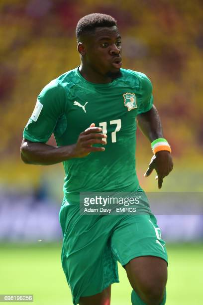 Ivory Coast's Serge Aurier in action against Columbia