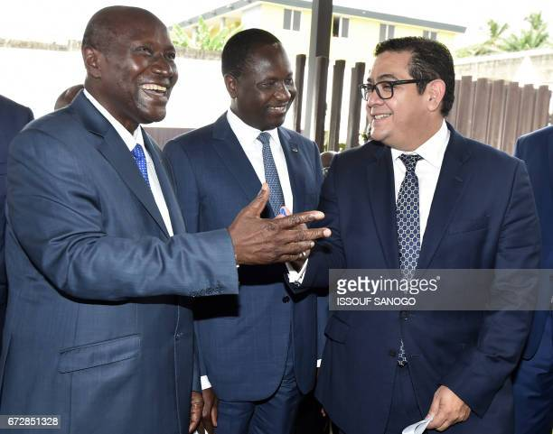 Ivory Coast's vicepresident Daniel Kablan Duncan Ivory Coast's Agriculture Minister Mamadou Sangafoua Coulibaly and ICCO chairmen Luis Valverde...