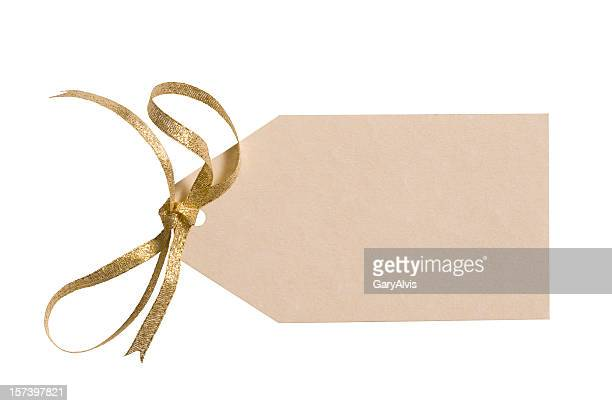Ivory colored gift tag with gold bow & clipping path
