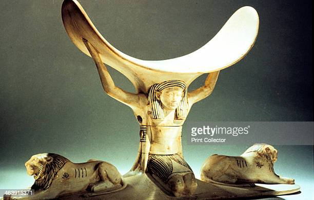 Ivory headrest supported by a figure Ancient Egyptian 18th Dynasty c1325 BC From the Treasure of Tutankhamun discovered in the pharaoh's tomb and...