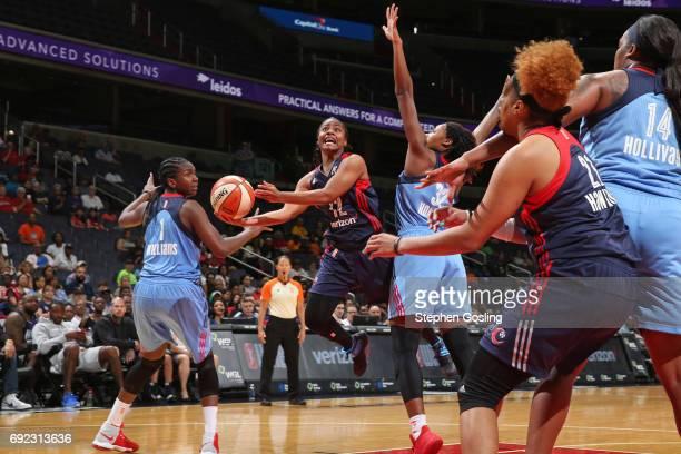 Ivory Latta of the Washington Mystics drives to the basket against the Atlanta Dream on June 4 2017 at Verizon Center in Washington DC NOTE TO USER...