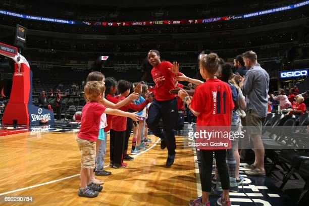 Ivory Latta of the Washington Mystics gets introduced before the game against the New York Liberty on June 4 2017 at Verizon Center in Washington DC...